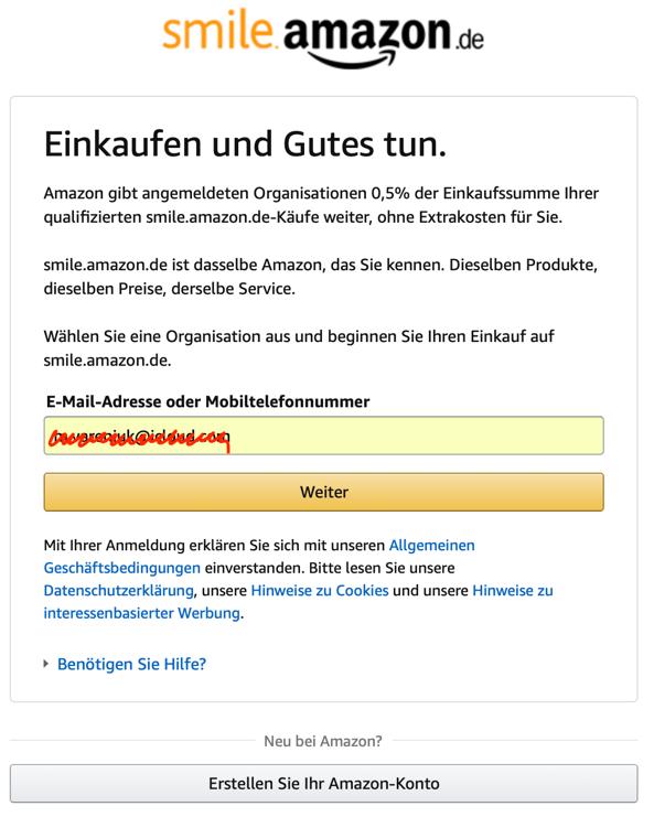 Unterstützung des Vereins Ukrainer in Karlsruhe mit Amazon Smile